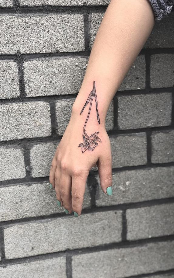Black And Gray Flower Tattoo