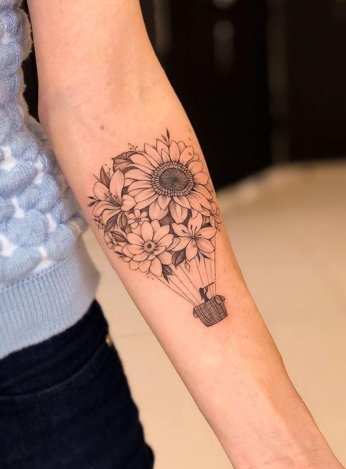 Balloon Of Flowers Tattoo