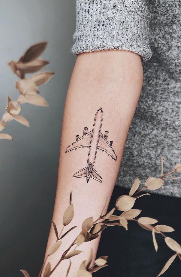 Black & Gray Plane Tattoo