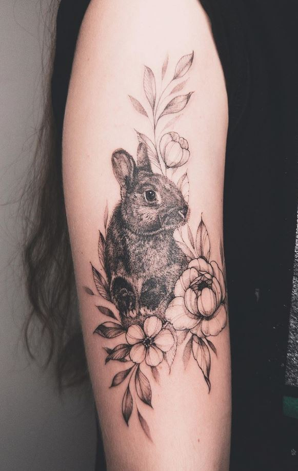 Floral Bunny Tattoo
