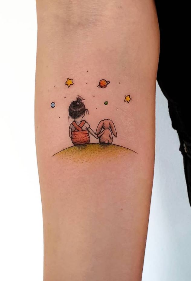 Little Girl And Bunny Tattoo