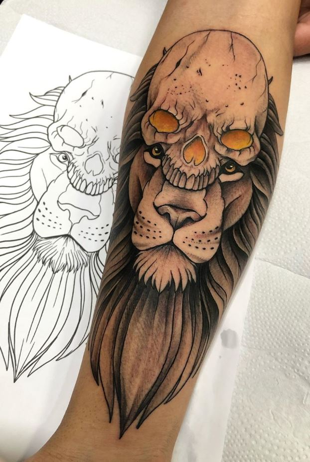 Skull Lion Tattoo