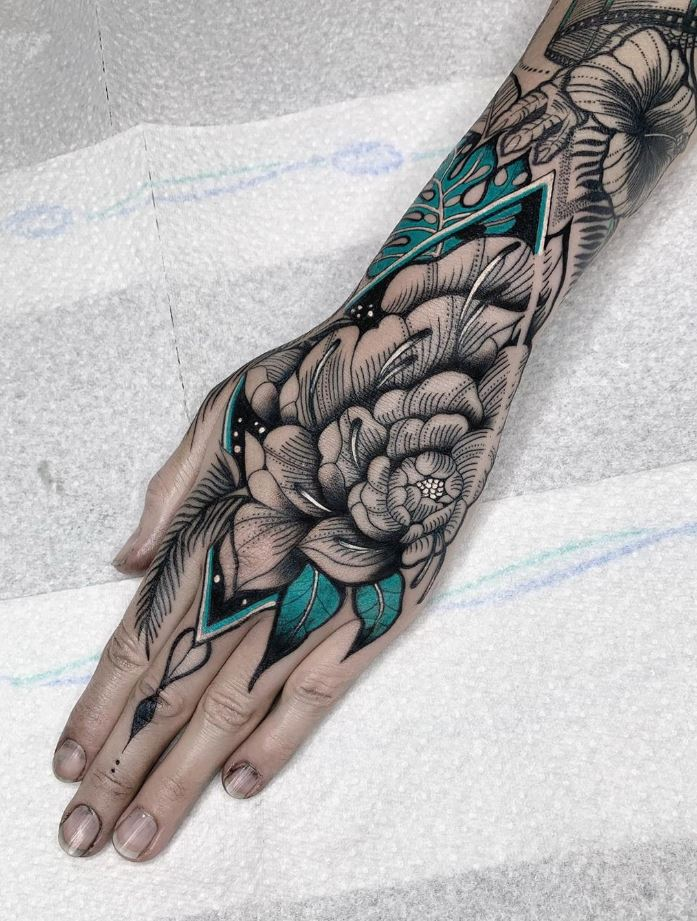 Freehand Peony Tattoo